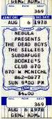 Bookie's Ticket Stub - Dead 				Boys and The Sillies